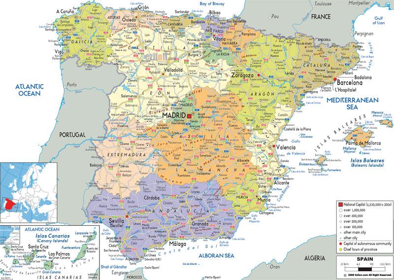 Карта административного деления Испании
