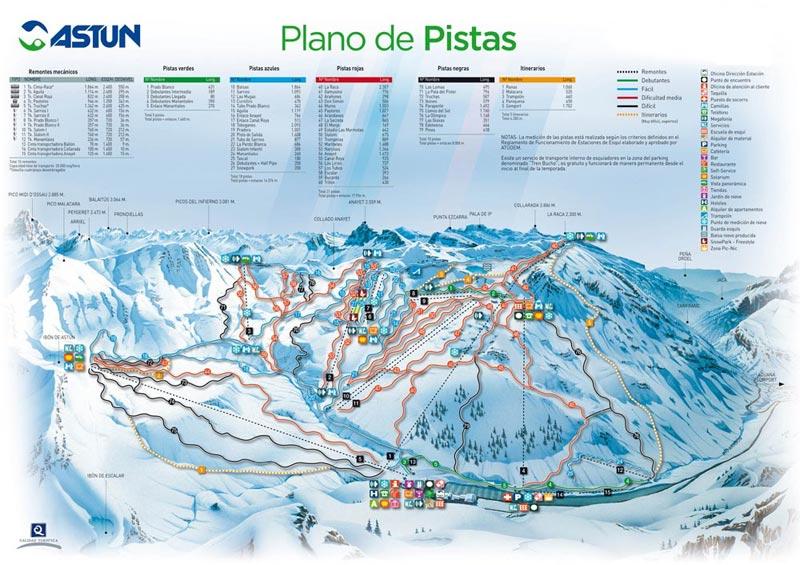 План-схема трасс горнолыжного центра Астун