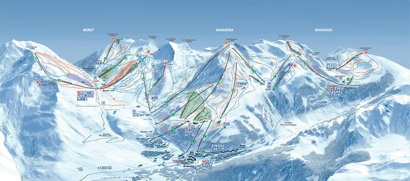 План-схема трасс горнолыжного центра Бакейра-Берет