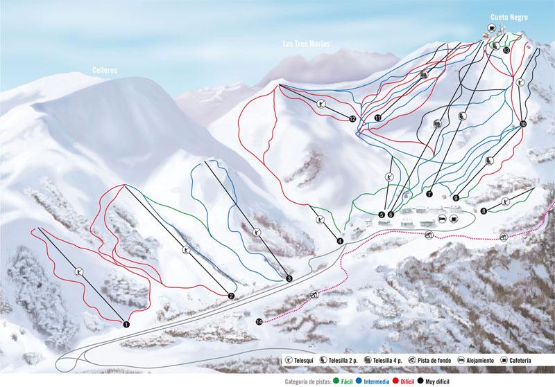 План-схема трасс горнолыжного центра Вальгранде-Пахарес