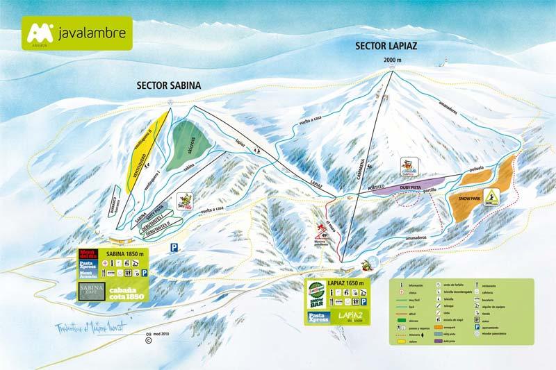 План-схема трасс горнолыжного центра Вальделинарес