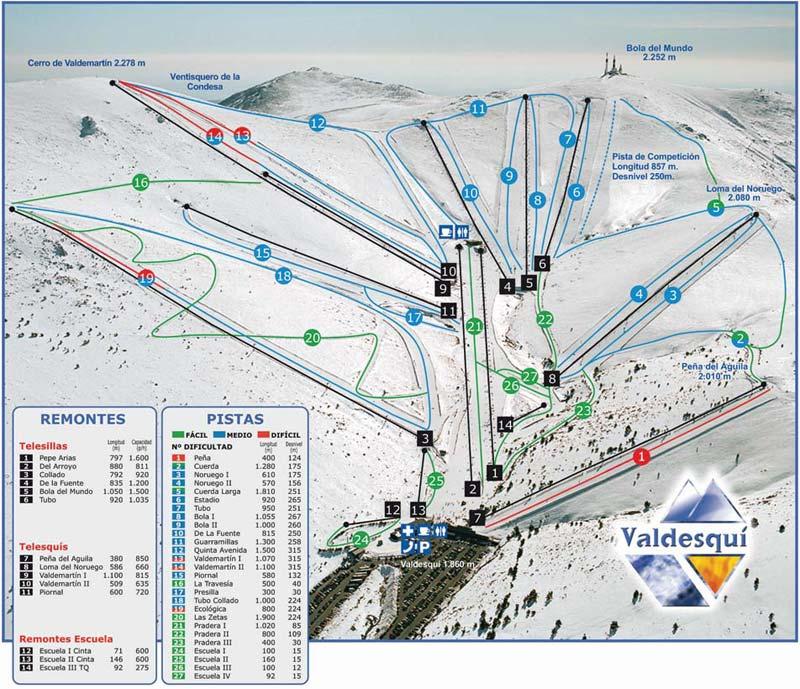 План-схема трасс горнолыжного центра Вальдески