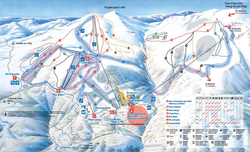 План-схема трасс горнолыжного центра Ла-Молина