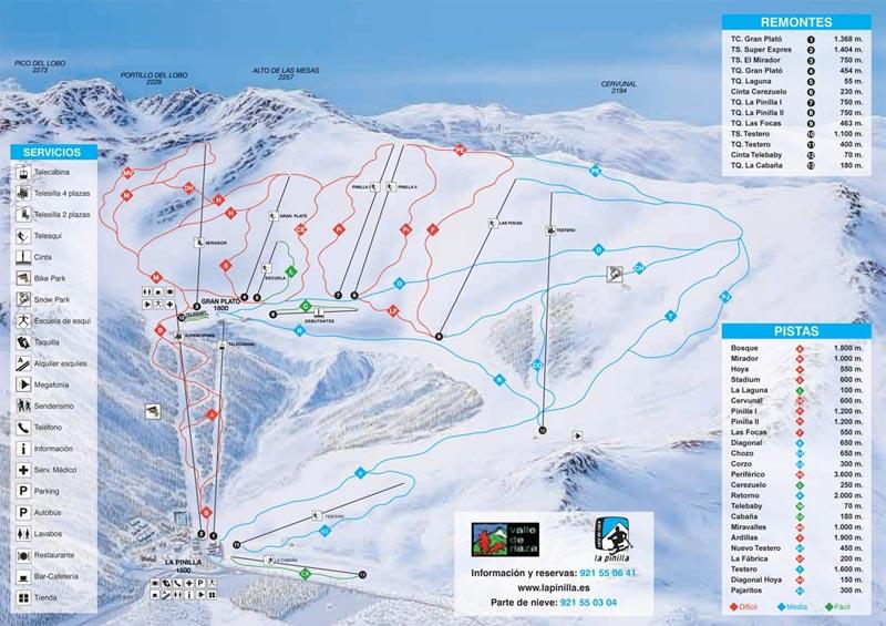 План-схема трасс горнолыжного центра Ла-Пинилья