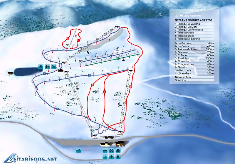 План-схема трасс горнолыжного центра Лейтарьегос