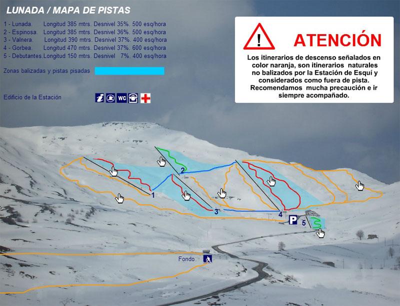План-схема трасс горнолыжного центра Лунада