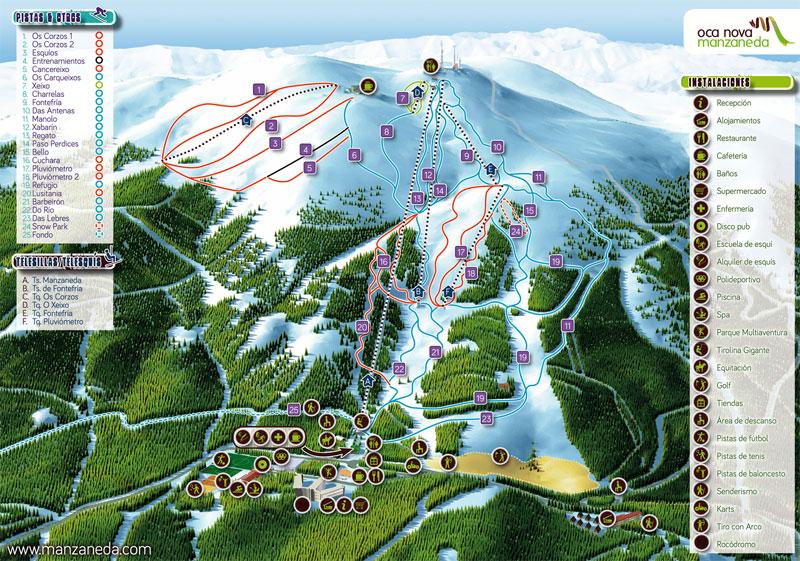 План-схема трасс горнолыжного центра Мансанеда
