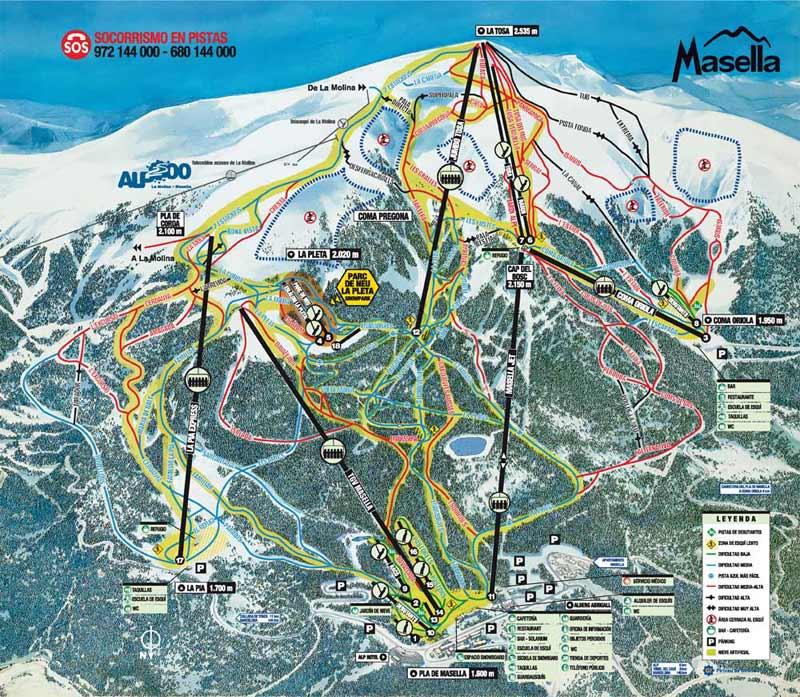 План-схема трасс горнолыжного центра Маселья