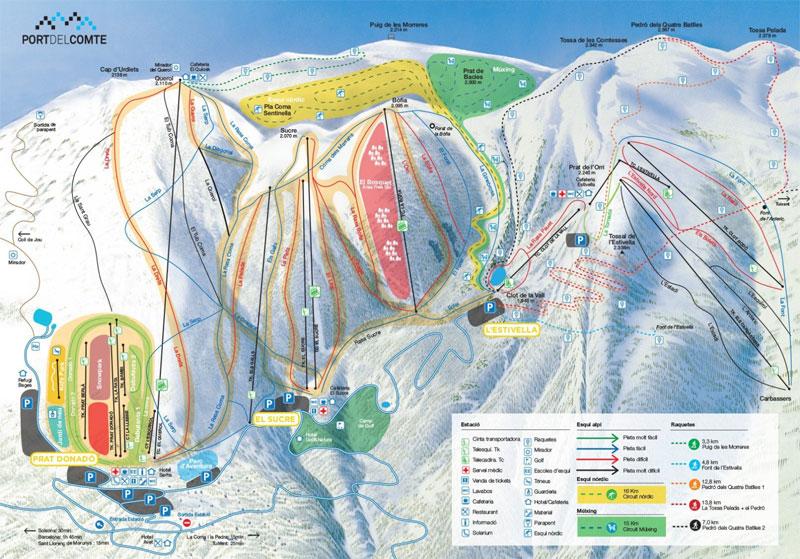 План-схема трасс горнолыжного центра Порт-дель-Комте