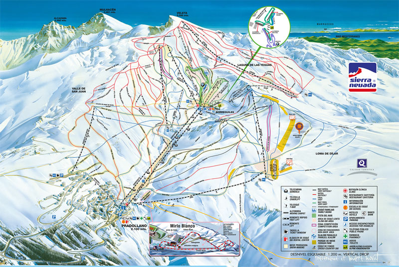 План-схема трасс горнолыжного центра Сьерра-Невада